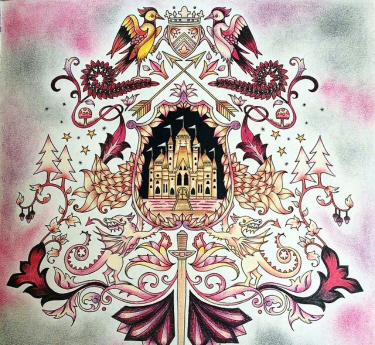 Coat Of Arms Castle Enchanted Forest Brasao Castelo Floresta Encantada Johanna Basford Adult ColoringColoring PagesColoring BooksPencil