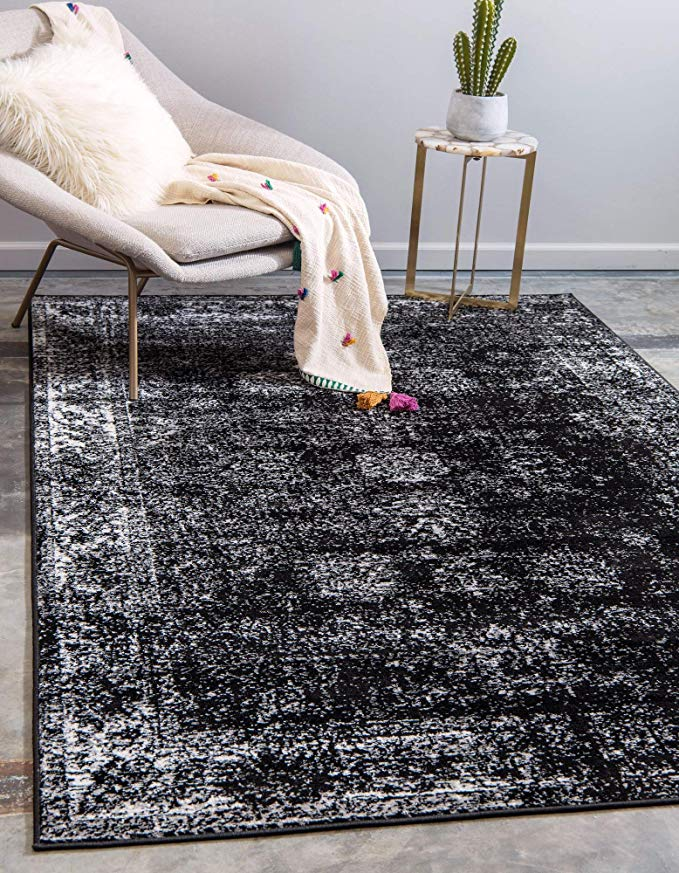 Amazon Com Unique Loom Sofia Traditional Area Rug 4 0 X 6 0 Black Home Kitchen In 2020 Black Area Rugs Overdyed Rugs