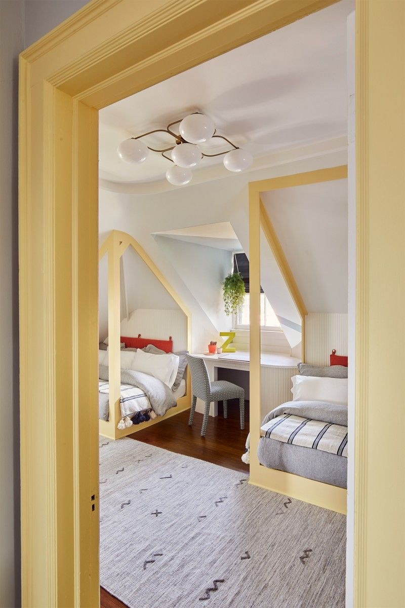 This Attic Kids Room Was Built Around An Electric Train Track In 2020 Moore House Cheap Living Room Decor Kid Room Decor