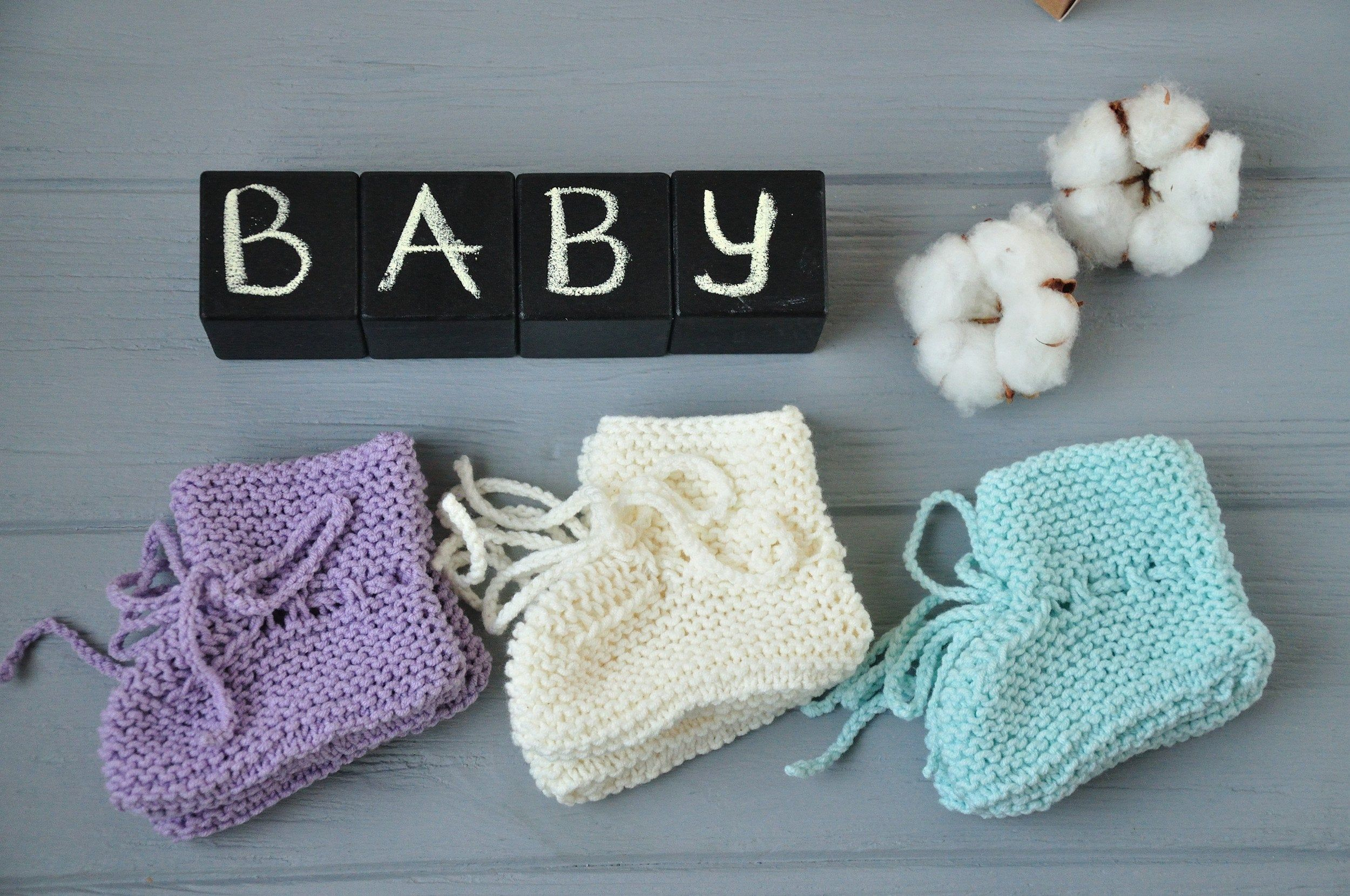 Photo of Hand knit neutral baby booties Cute pregnancy reveal to husband Pregnant friend gift idea Baby shower gift Soft baby socks Newborn presents