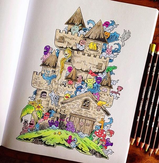 Coloring Book For Adults Titled Doodle Invasion By Kerby Rosanes I Really Want This