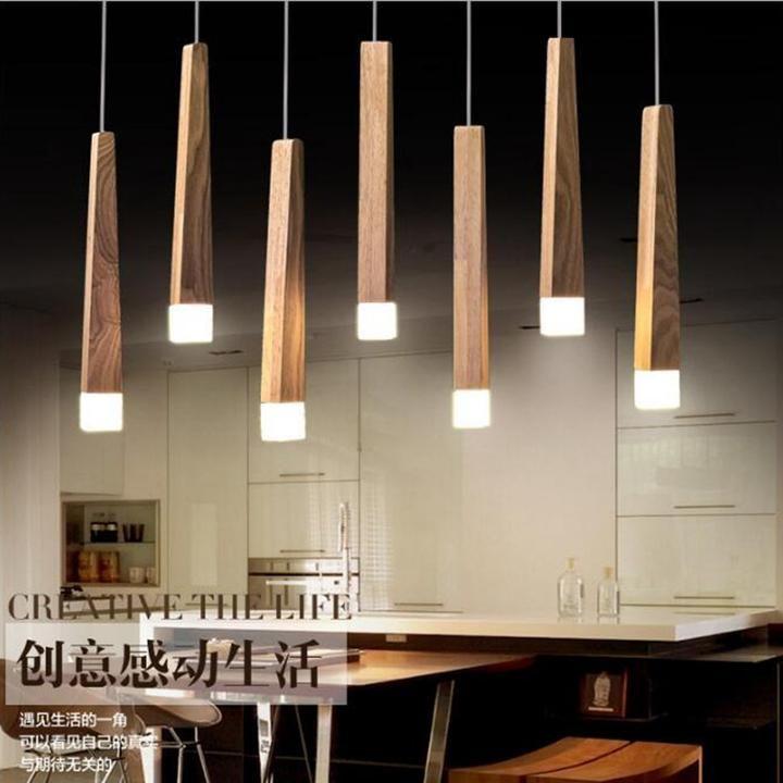 Wood Stick Pendant Lamp Lights in 2020 | Wood pendant light