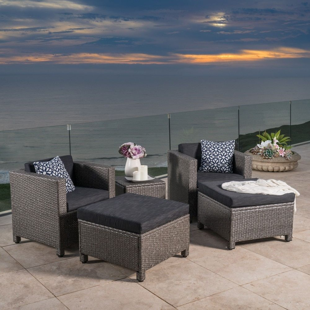 Puerta 5 Piece Outdoor Wicker Chat Set With Water Resistant Cushions By Christopher  Knight Home (Brown Wicker With Light Brown Cushions), Beige, ...