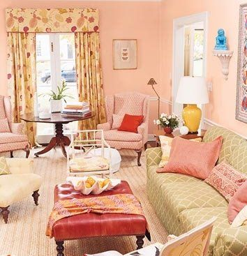 I don't want a lot of pink in a baby girl's nursery, but this peachy shell pink would be a nice wall color, with lots of other colors in the room to balance it out