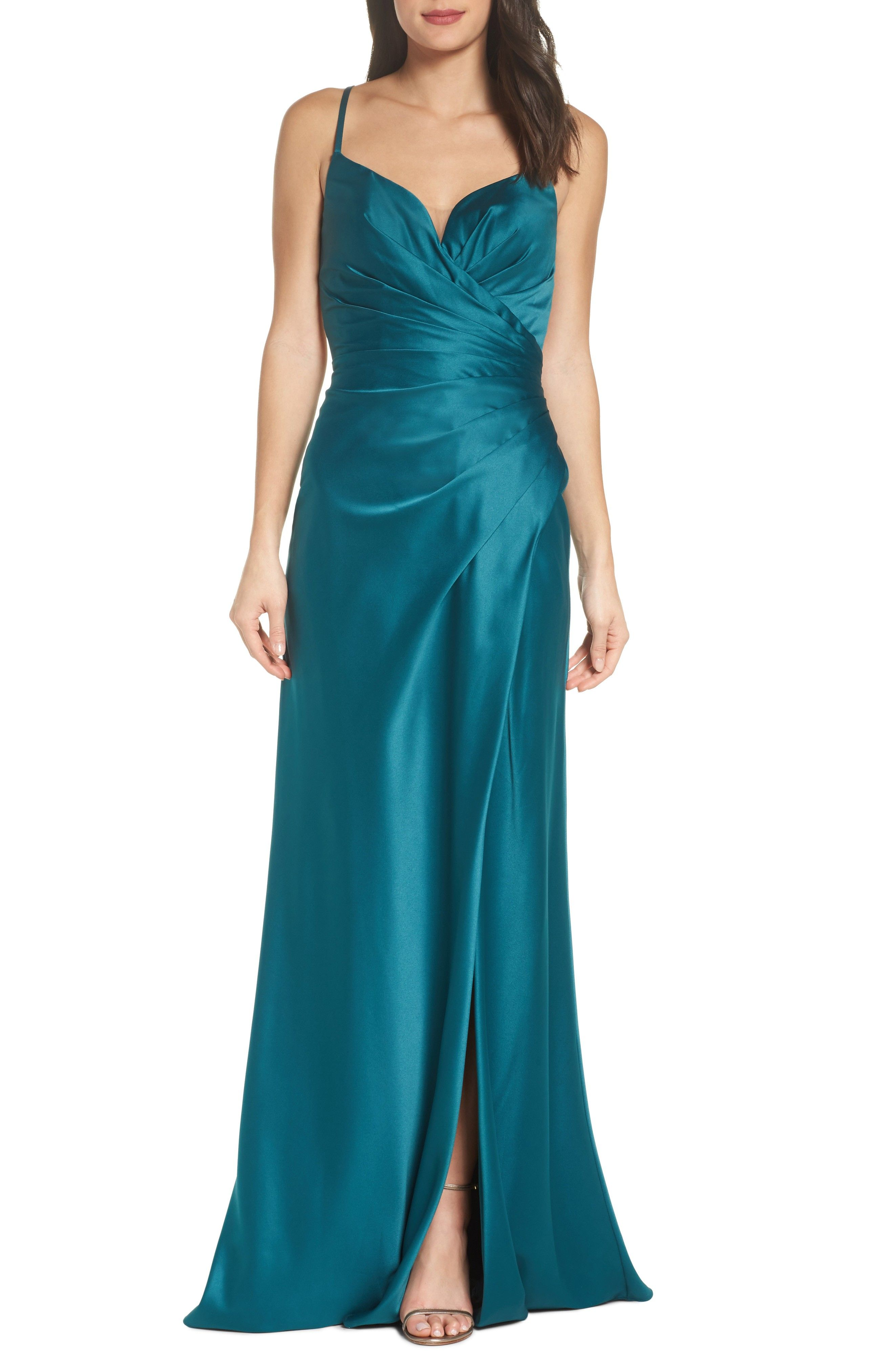 Teal prom dress - Strappy Ruched Bodice Gown #ad #promdress | Prom ...