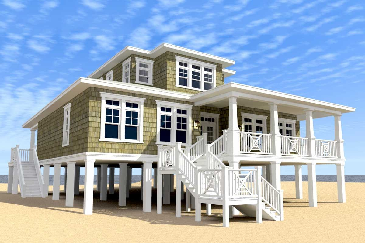 Plan 44117td Ultimate Oceanfront House Plan In 2020 Coastal House Plans Beach Style House Plans House On Stilts