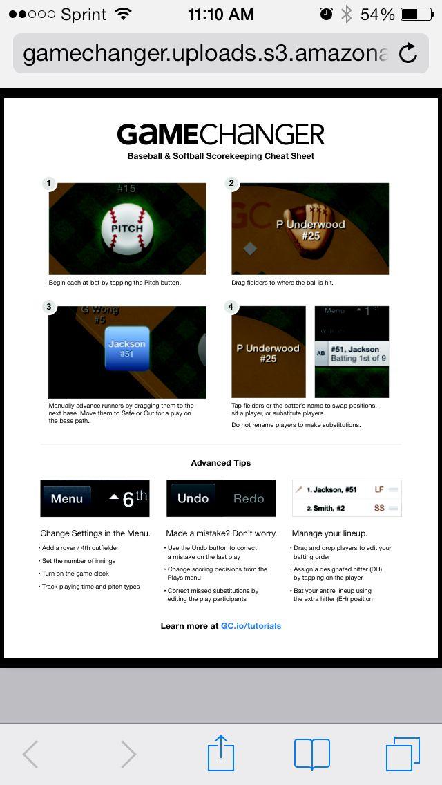 Scoring Cheat Sheet for Game Changer App | Grace's Sports | Cheat
