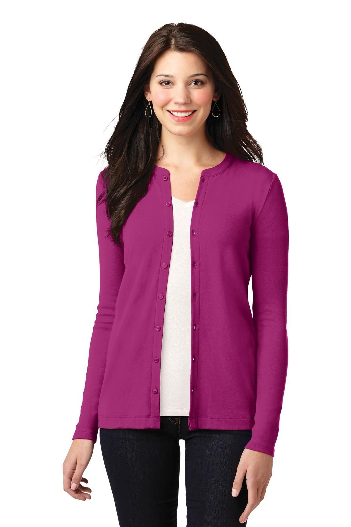 Port Authority Ladies Concept Stretch Button-Front Cardigan ...