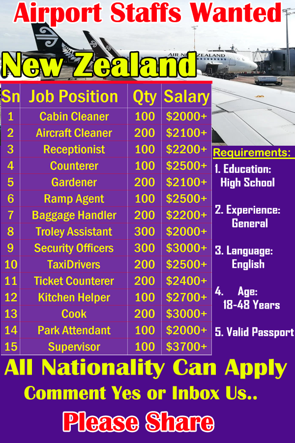 Latest Jobs Open In New Zealand Airport Staff Hiring Now Hiring Now Airline Jobs Job