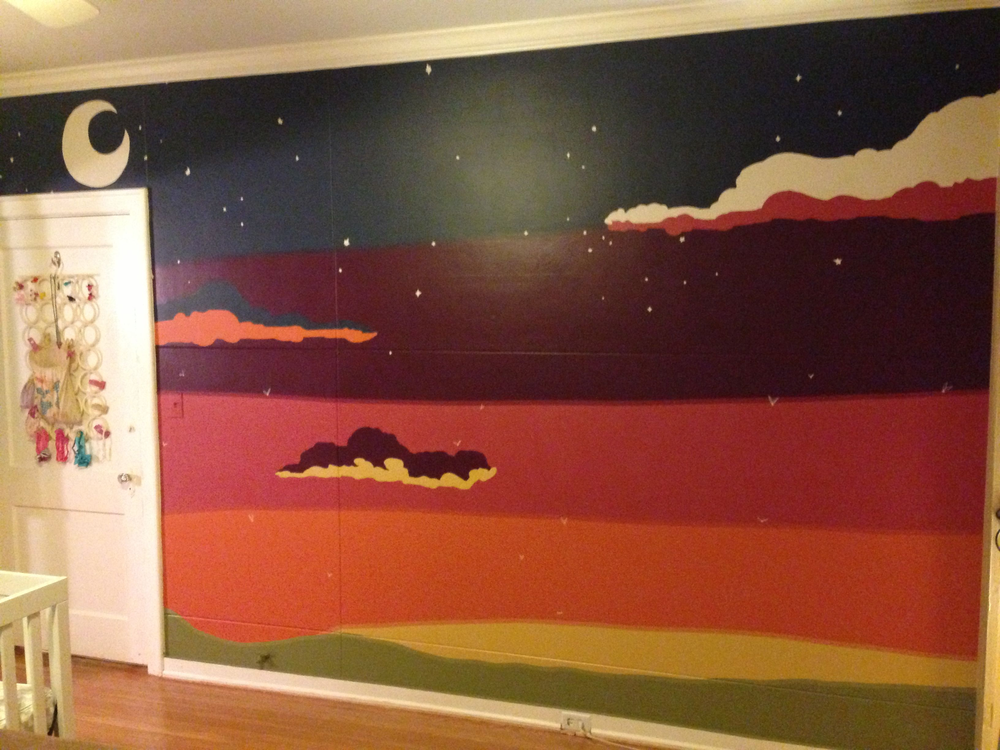 Finished Painted Wall Mural Of Sunset And Fireflies