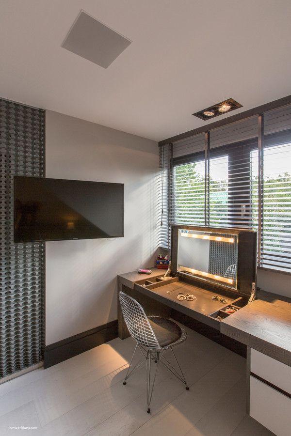 Home apartment sleek built in vanity plus chair also modern windows and tv enchanting ultramodern sleek house with sharp lines