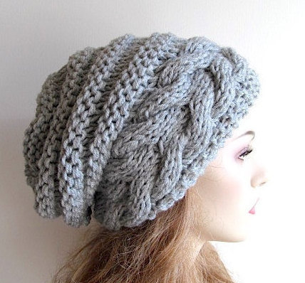 f01972ad700ca0 Instant Download PDF Knitting Pattern Braided Cable Chunky Slouchy Beanies  Berets Beehive Hats Womens Teenage Girls