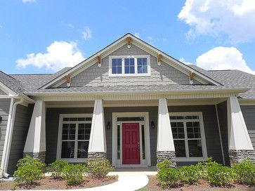 Craftsman Style Front Porch Columns And Red Front Door Atlanta