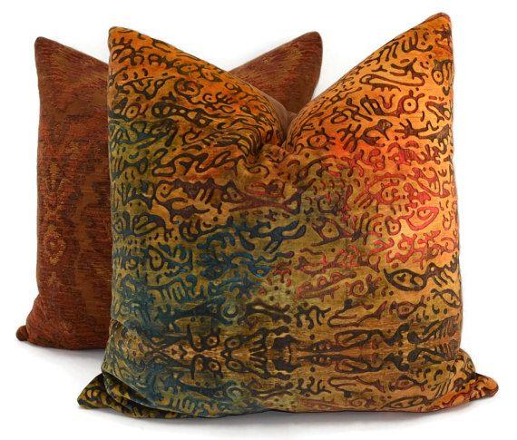 277e67e261d Gold Rust Burnt Orange Chocolate Red Teal   Tan by ThePillowSpot Lumbar Throw  Pillow