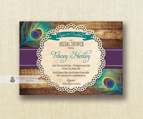 Bridal Shower Invitation Template - Teal Green Eggplant Plum ...