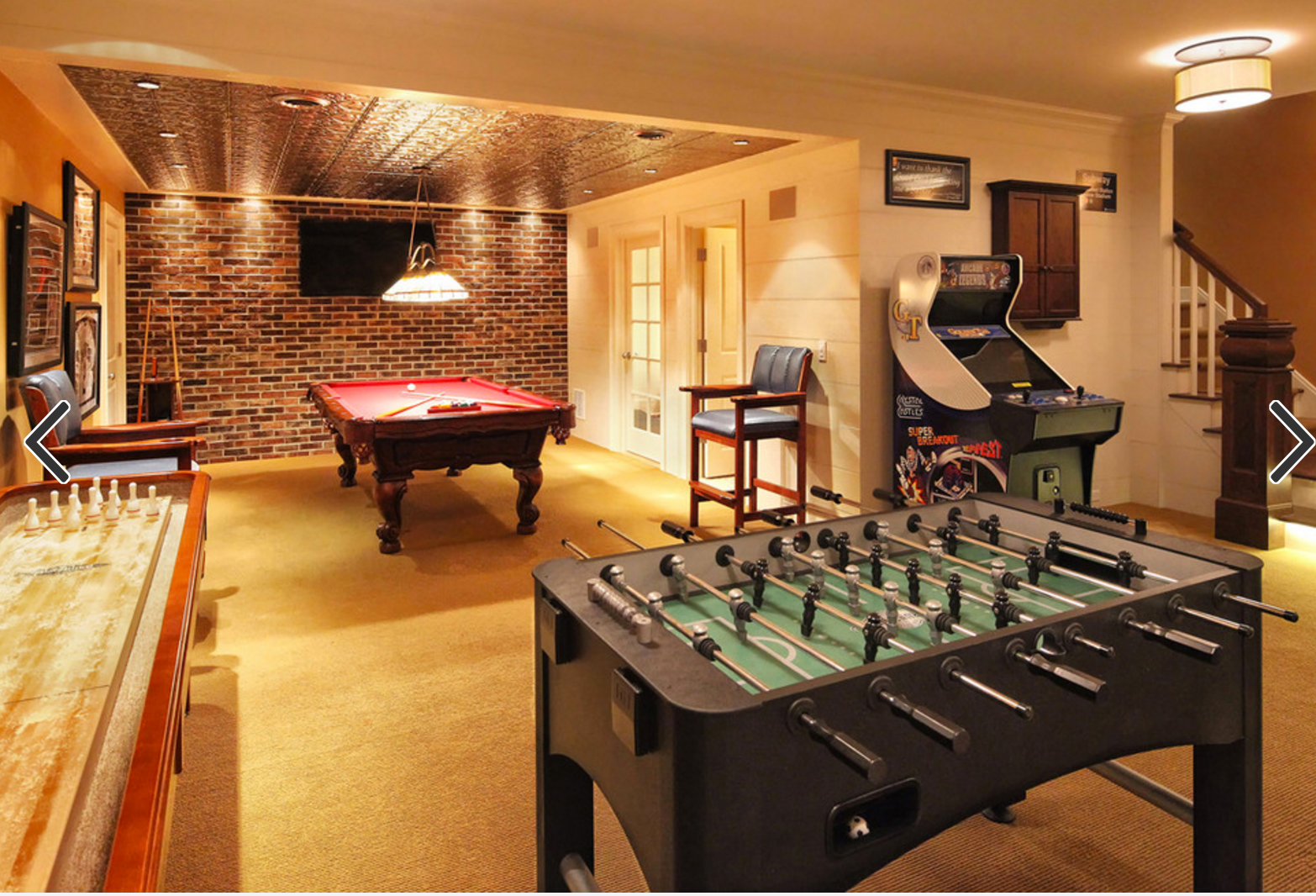 Foosball Shuffle Board Table Against The Wall Game Room