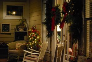 Back porch decorated for Christmas