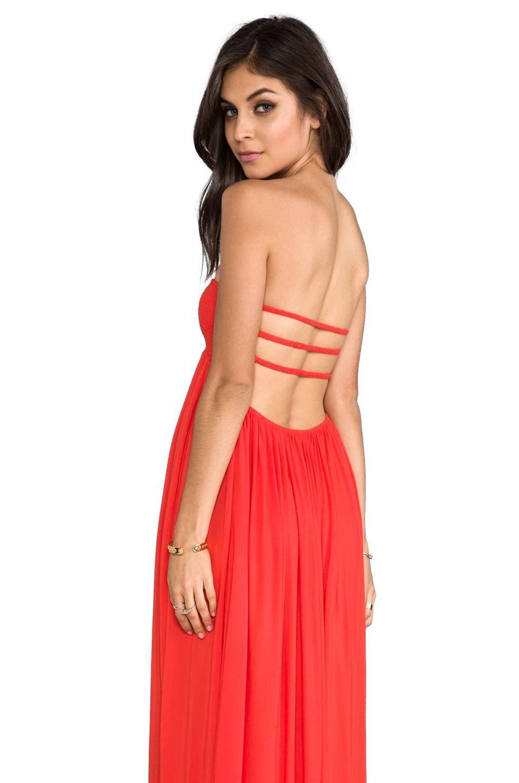 Indah flamingo rayon crepe smocked bandeau maxi dress in papaya from