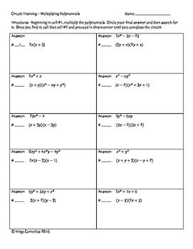 Circuit Training Multiplying Polynomials Algebra Functions
