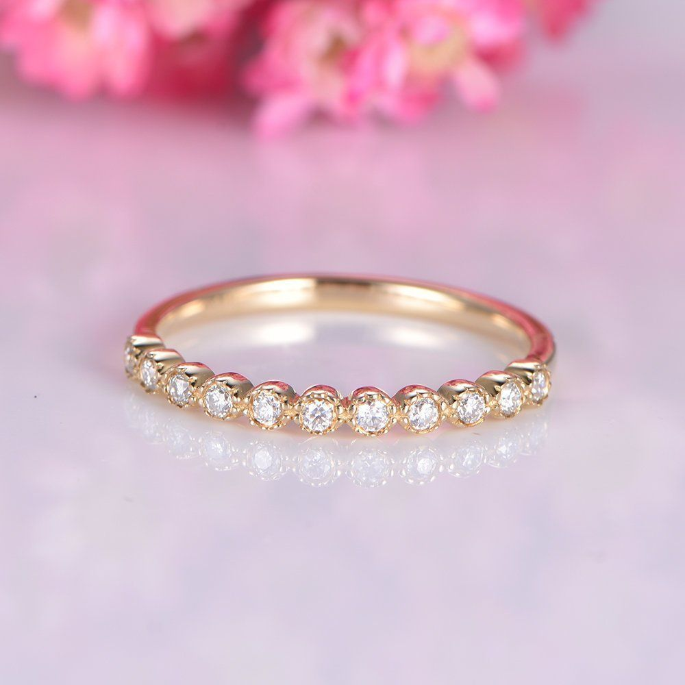Half eternity diamond wedding band yellow gold SI diamond wedding ...