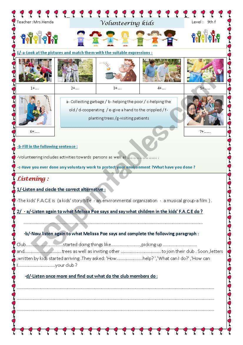 Volunteering Kids Esl Worksheet By Moemendhia Help The Poor Teacher Help Vocabulary Worksheets [ 1169 x 826 Pixel ]