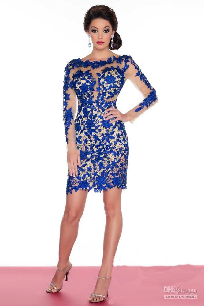 2015 New Long Sleeve Short Sheath Lace Cocktail Dresses Ladies ...