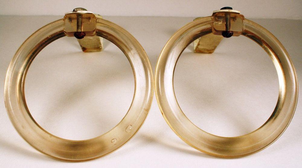 Art Deco Drapery Rings FREE US Shipping Pair Festoon Swag Holders