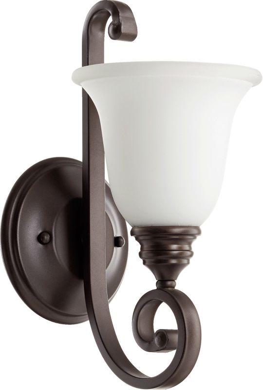 "Photo of Quorum International 5454-1-186 Oiled Bronze / Satin Opal Bryant Single Light 6-1 / 2 ""wide bathroom light"
