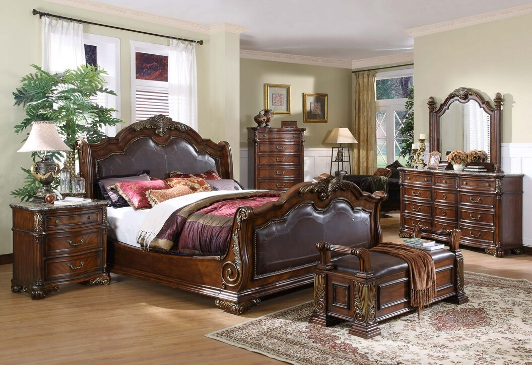 5 Pc Mandallay Ii Collection Brown Wood Finish Queen