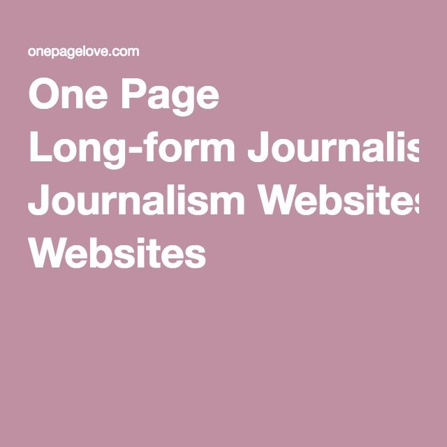 One Page Long-form Journalism Websites
