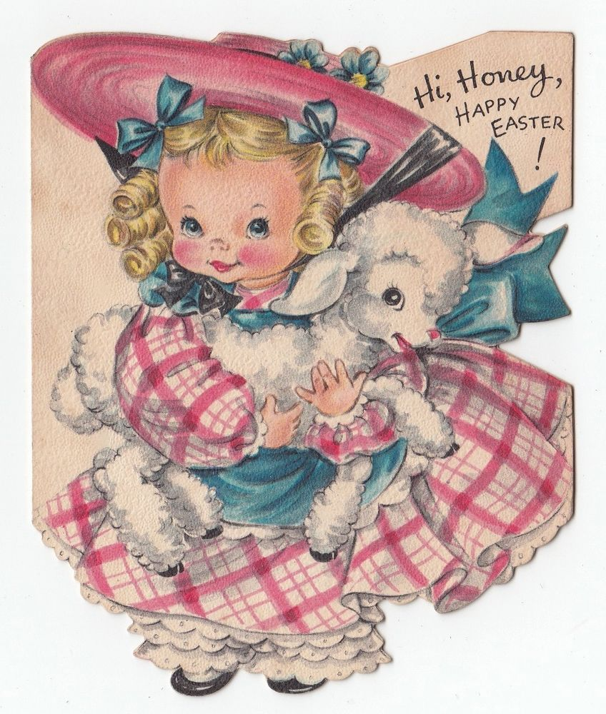 Vintage greeting card easter cute little girl holding lamb die cut vintage greeting card easter cute little girl holding lamb die cut hallmark kristyandbryce Image collections
