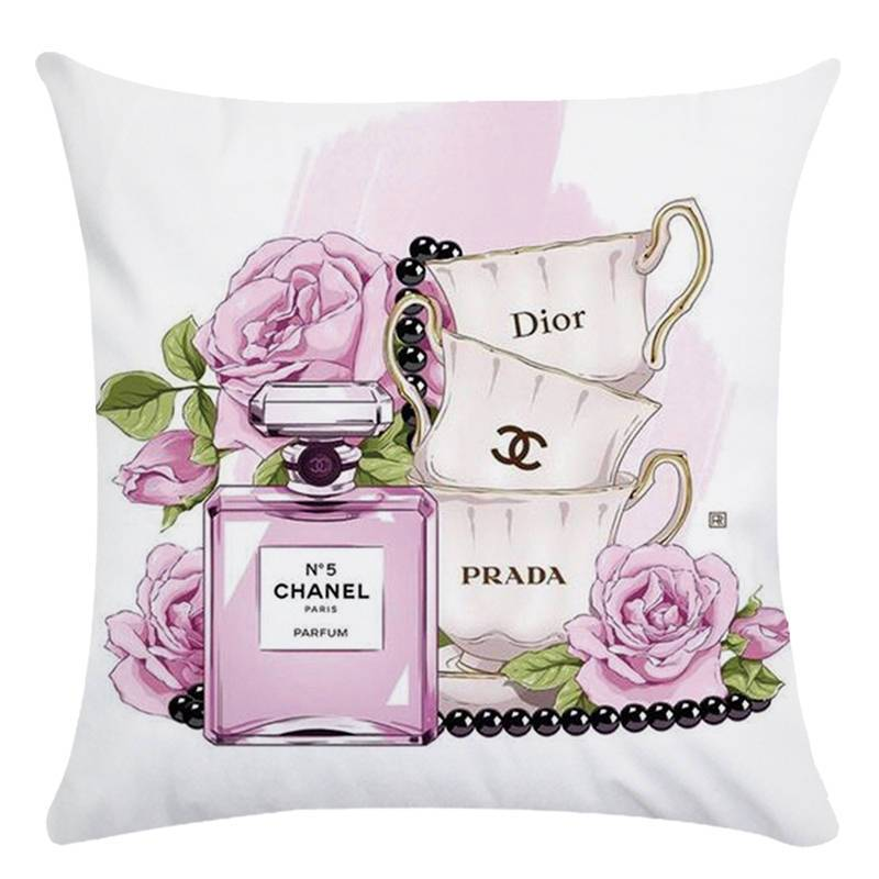 45cm 45cm Hand Painted Flowers And Perfume Bottles Super Soft Cushion Cover And Sofa Pillow Case Home Decorative Pillow Cover Chic Throw Pillows Sofa Pillow Cases Hand Painted Flowers