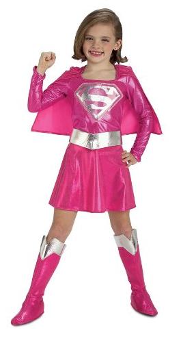 Kids Pink Supergirl Costume.