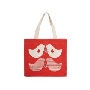 Apple & Bee Reusable Tote Bag (Large Red Birds)