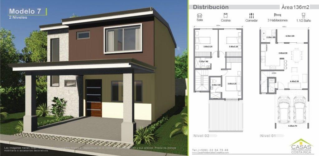 136m2 dise o 7 casas peque as pinterest casas de dos for Disenos de casas de dos pisos pequenas