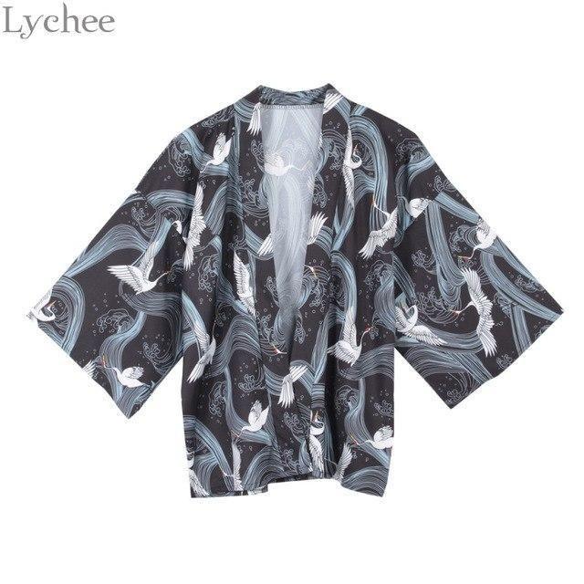 9dd144b022a Lychee Japanese Kimono Summer Women Cardigan Crane Printed Chiffon Shirt  Sun Protection Outerwear