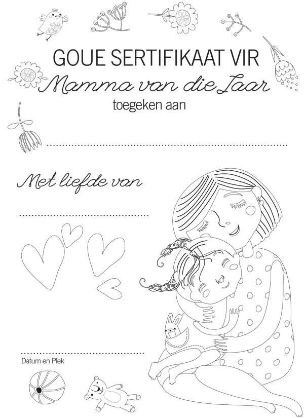 Gratis Moedersdag-geskenk: Sertifikate vir Ma en Ouma