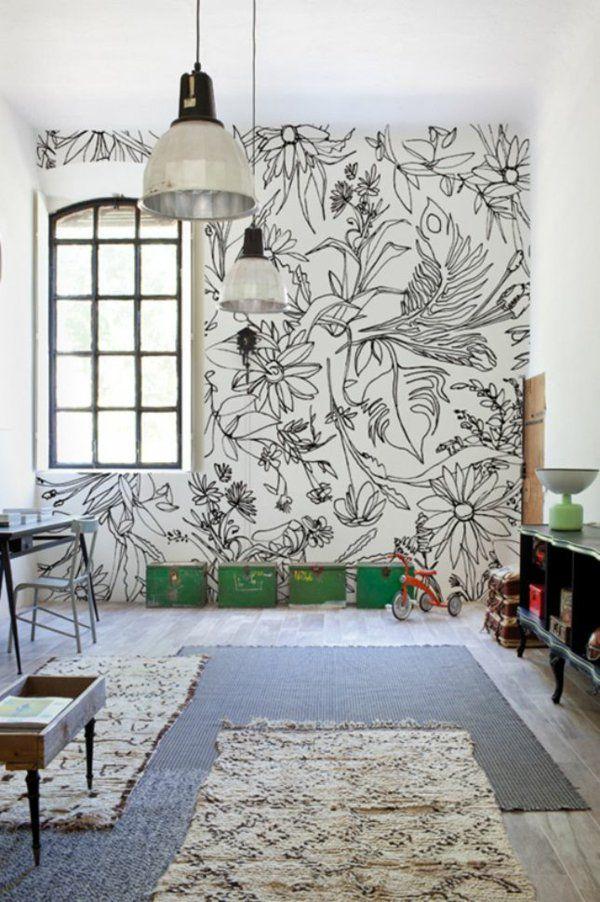 Ideen Schwarz Weiß Wandgestaltung Mit Farbe Wand Streichen