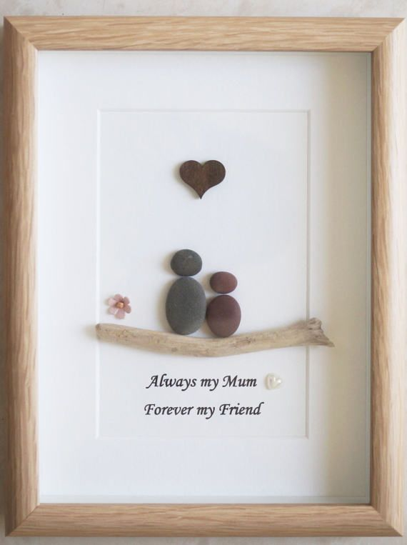 Pebble Art Framed Picture Mothers Day Mother And Child Manualidades Piedras Decorativas Arte De Piedra