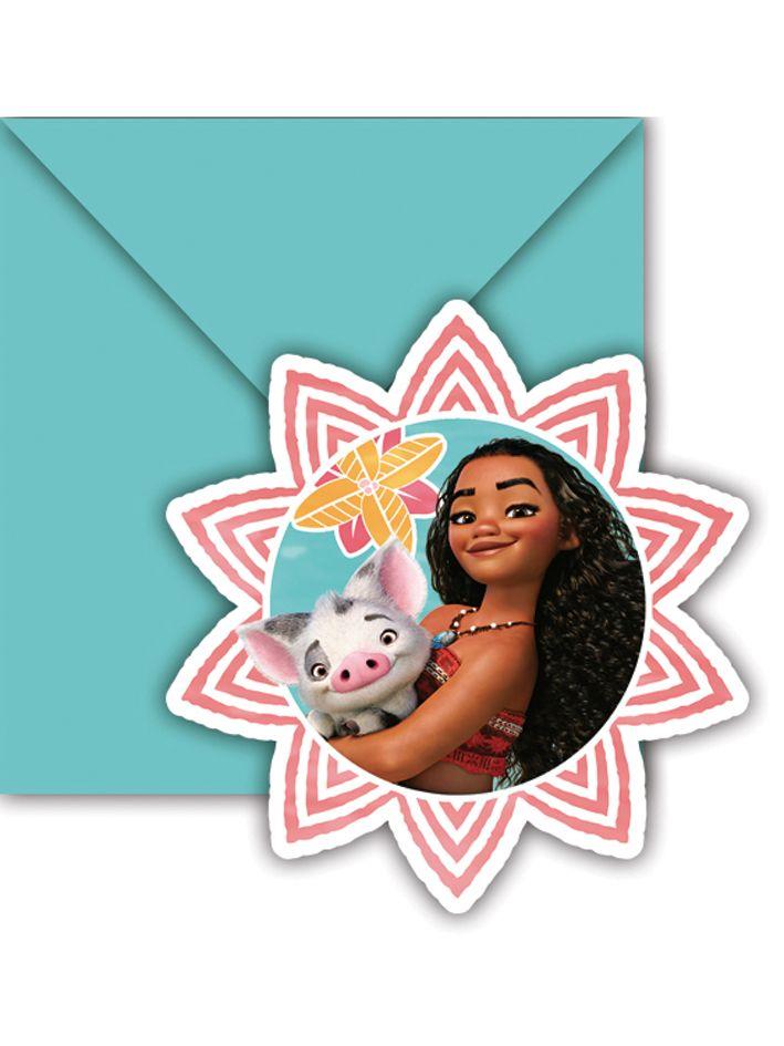 6 Cartes D Invitation Enveloppes Vaiana Decoration Anniversaire Et Fetes A Theme Sur Vegaoo Party Vaiana Partydeko Disney