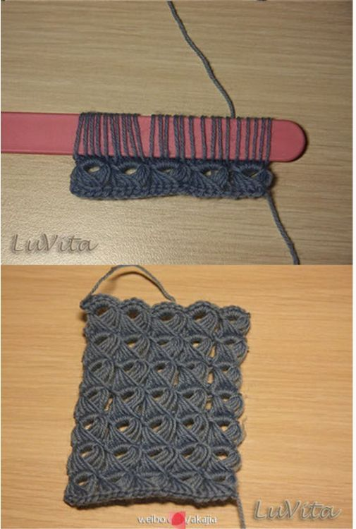 Crochet around a popsicle stick to create the lovely broomstick lace ...