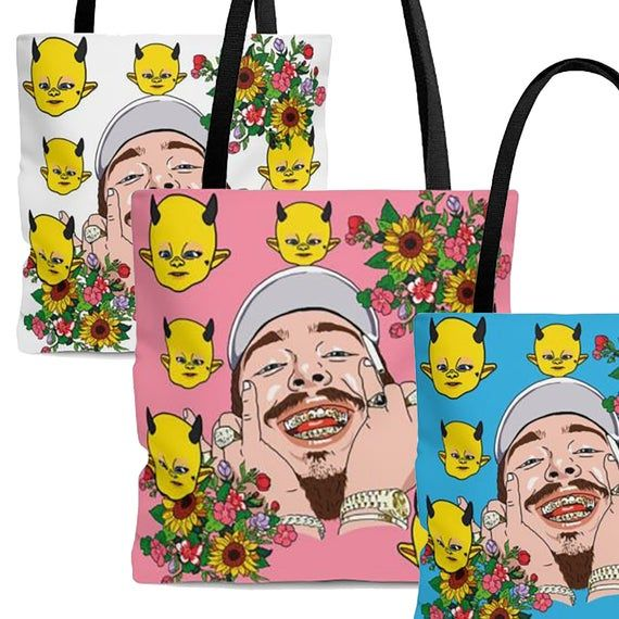 """Post Malone """"You're My Sunflower"""" Posty Tote Bags Hip Hop"""