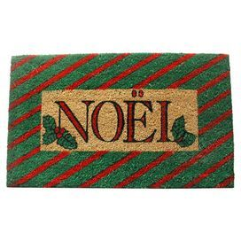 """Coir doormat with a typographic motif.   Product: DoormatConstruction Material: Coir and PVCColor: Red, green, and naturalDimensions: 18"""" x 30""""Cleaning and Care: Shake dirt out and vacuum"""