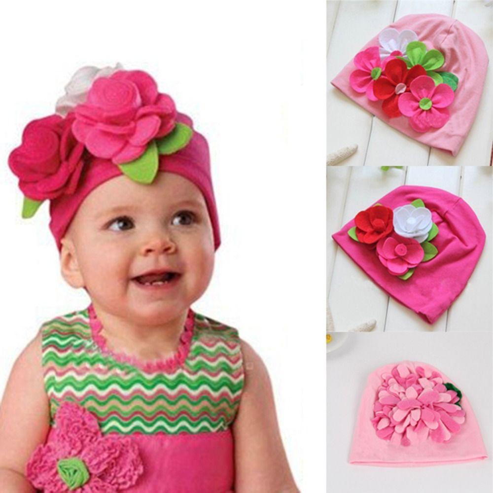 3M-4Y 좋은 아이 여자 아기 사랑스러운 모자 큰 3D 꽃 비니 모자 사진 드레스