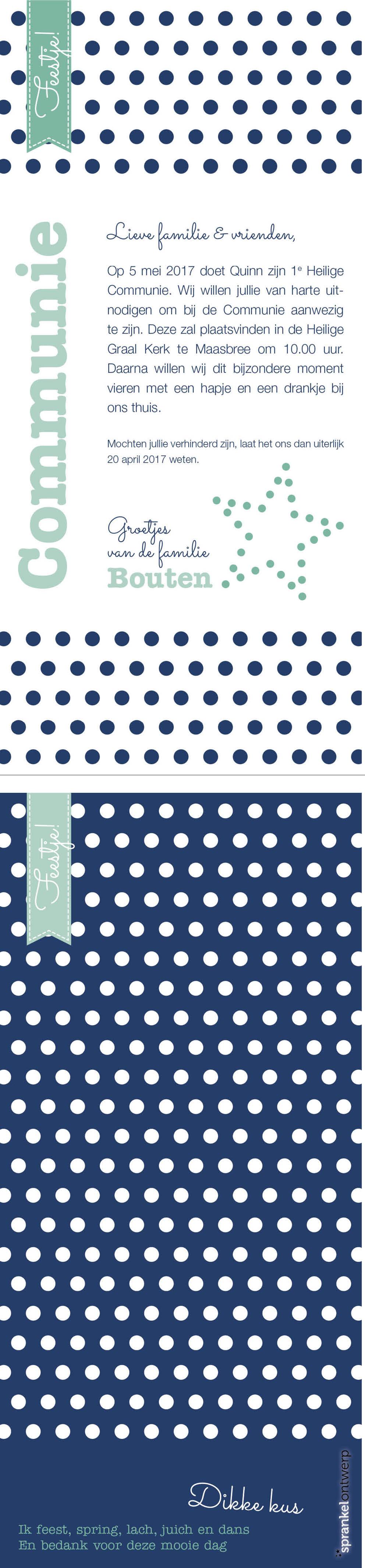 COMMUNIE | uitnodiging, invitation, blauw, aqua, blue, polkadots, star, ster, wit, white