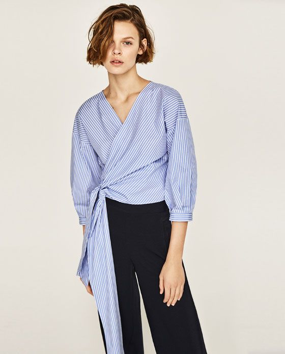 Image 3 of STRIPED CROSSOVER SHIRT from Zara Bluser Til Kvinder 767f5fed17f32