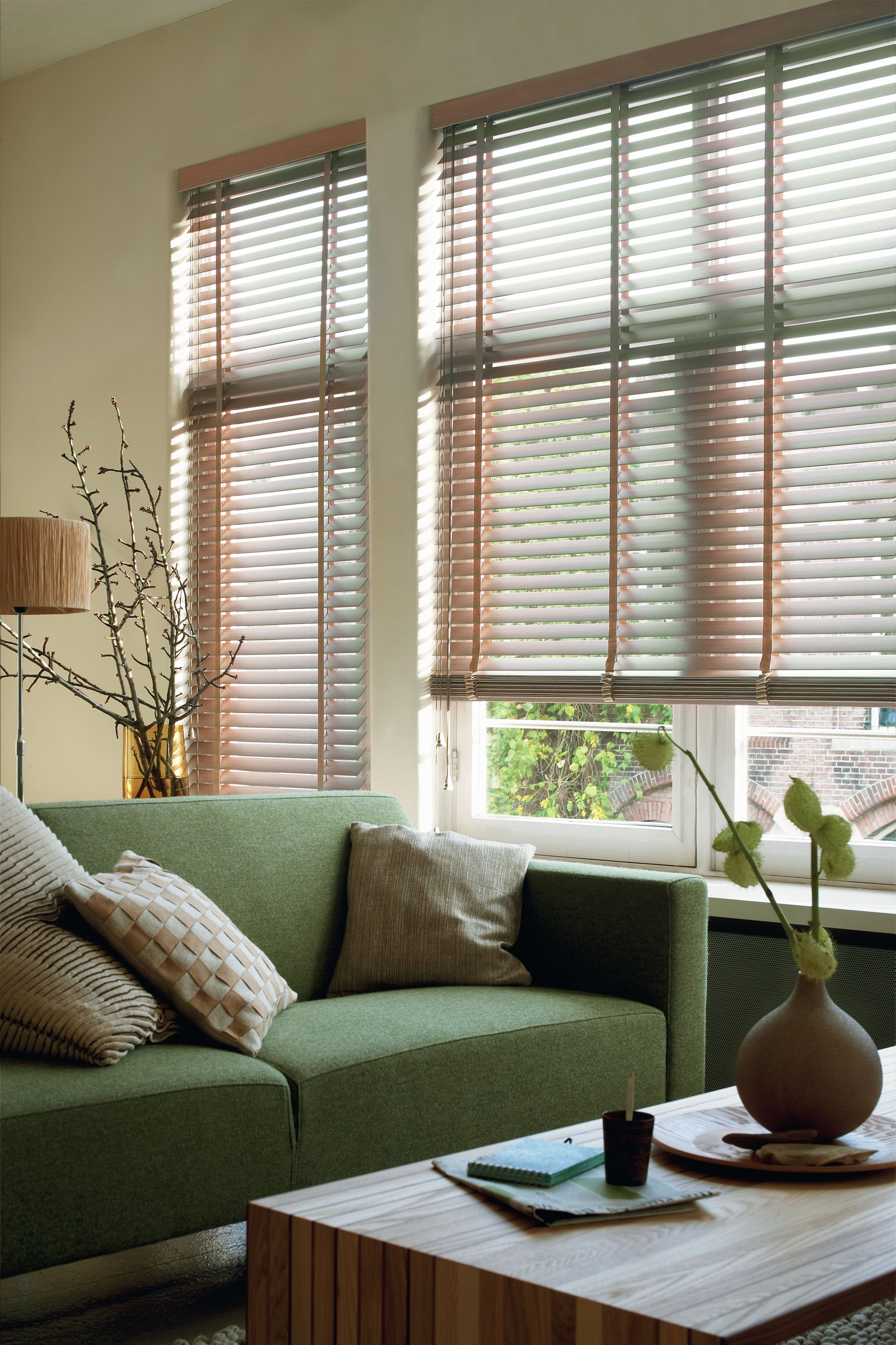 Luxaflex Wood Venetian Blinds In Natural Earth Coloured Living Room Wood Blinds Luxaflex