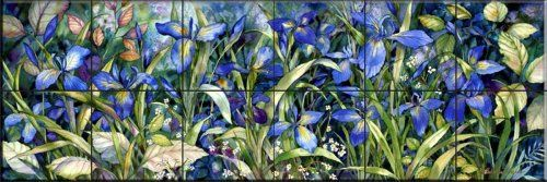Blue Iris by Kathleen Parr McKenna - Kitchen Backsplash…