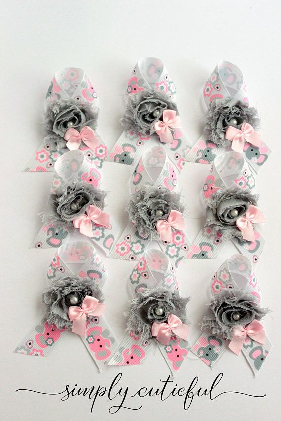 Pink Grey Elephant Shower Guest Pins Baby Shower Pins Guest Pins