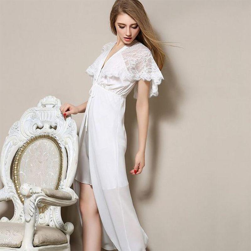 6cb551bbfc9 Невесты Халаты Длинные атласные ночные рубашки женские пикантные v-образным  вырезом кружева шелковые ночные сорочки ночные рубашки XL Женщины спальные  ...